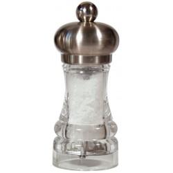 POLKA mlýnek na sůl, nerez mat a transparent, 11 cm