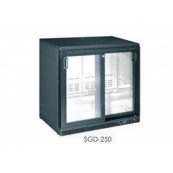 prosklená barová chladící skříňka na nápoje 2 dveřová